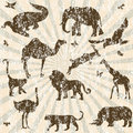 Retro grunge background with animals silhouettes Royalty Free Stock Photo
