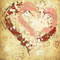 Retro grunge background with hearts painted Royalty Free Stock Photo