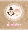 Retro grunge wedding invitation lace owls Stock Image