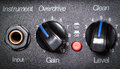 Retro guitar amplifier control panel close up shallow depth of field Stock Image