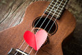 The retro guitar for the lover in valentine s day Royalty Free Stock Photography