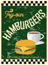 Retro hamburger diner sign worn and weathered vector eps Stock Images