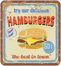 Retro hamburger sign vector free copy space Royalty Free Stock Photography