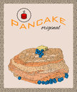 Retro hand drawn poster with pancakes, blueberry and butter. Royalty Free Stock Photo