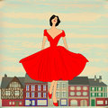 Retro Happy, Girl in red 1950's style dress Stock Photo