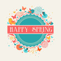 Retro happy spring label composition postcard with colorful flowers and eps vector file organized in layers for easy editing Stock Images