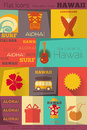 Retro hawaii labels collection surf in flat design style mobile ui style illustration Stock Photos