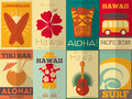 Retro hawaii posters collection surf in flat design style illustration Royalty Free Stock Photo