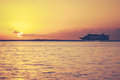 Retro hawaii sunset cruise filtered style vacation photo of a tropical in Stock Photo