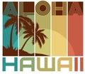 Retro Hawaiian tshirt design art palm trees beach Aloha
