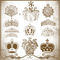 Retro heraldic elements for design set of crowns vintage illustration Royalty Free Stock Photos