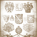 Retro heraldic elements for design set of vintage illustration Royalty Free Stock Photo