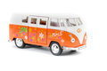 Retro hippie van camper toy isolated against white background Royalty Free Stock Images