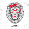 Retro Hipster animal lion. Hand drawing Muzzle of animal lion.