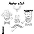 Retro hipster club accessories set for gentleman of glasses hat tobacco pipe bow mustache and beard isolated sketch vector Stock Photography