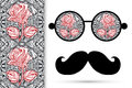 Retro hipster sunglasses with floral rose ornament and mustaches seamless lace pattern Royalty Free Stock Images