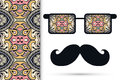 Retro hipster sunglasses with ornament and mustaches seamless floral geometric pattern Stock Image