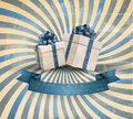 Retro holiday background with blue gift ribbon wit Royalty Free Stock Photo