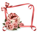 Retro holiday background with pink roses and gift box vector illustration Royalty Free Stock Image