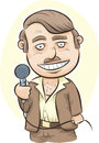 Retro host a cartoon holding a microphone Royalty Free Stock Images