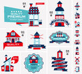 Retro house label set cartoon vector illustration Stock Image