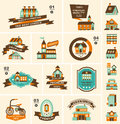 Retro house label set cartoon vector illustration Stock Photo