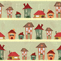 Retro houses - christmas seamless Stock Photography