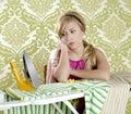 Retro housewife vintage woman clotes iron tired Stock Photos