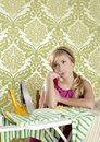 Retro housewife vintage woman clotes iron tired Royalty Free Stock Image