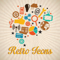 Retro icons different on vintage background Royalty Free Stock Photo