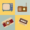 Retro icons over vintage background vector illustration Stock Image