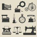 Retro icons set of vector illustration Royalty Free Stock Image