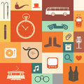 Retro icons vintage style squares with Stock Images