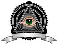 Retro illuminati all seeing eye pyramid symbol Royalty Free Stock Photography