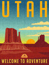 Retro illustrated travel poster for Utah Royalty Free Stock Photo