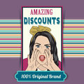 Retro illustration of a beautiful woman and amazing discounts me message vector format Royalty Free Stock Image