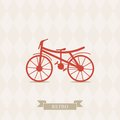 Retro illustration bicycle of vector card with simple of vintage Stock Image