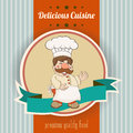 Retro illustration with cook and delicious cuisine message vector Stock Photos