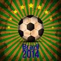 Retro Illustration football card in Brazil flag colors. Soccer ball