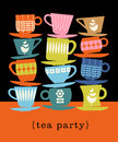 Retro illustration of stacks of tea cups Royalty Free Stock Photo