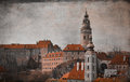 Retro image of a medieval castle of cesky krumlov picture in style Stock Photo