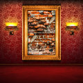 Retro interior broken brick wall exposition Royalty Free Stock Photography