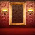 Retro interior with empty gold frame Stock Image