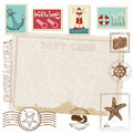 Retro Invitation postcard with SEA stamps Stock Photography