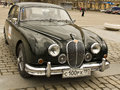 Retro jaguar on rally of classical cars moscow april poklonnaya hill april in town russia Royalty Free Stock Photo