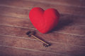 Retro key and heart shape photo in old color image style Stock Photos