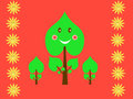 Retro kids pattern with suns and smiling leaves Royalty Free Stock Photo