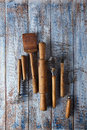 Retro kitchen utensils on old wooden table tools in rustic style Stock Image