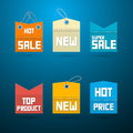 Retro labels tags best seller new super sale top product on blue background Royalty Free Stock Images