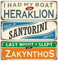 Retro labels with towns in Greece Royalty Free Stock Photo